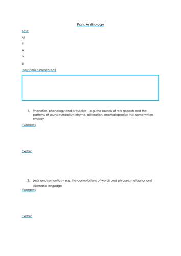 NEW AQA Paris Anthology Revision Sheet