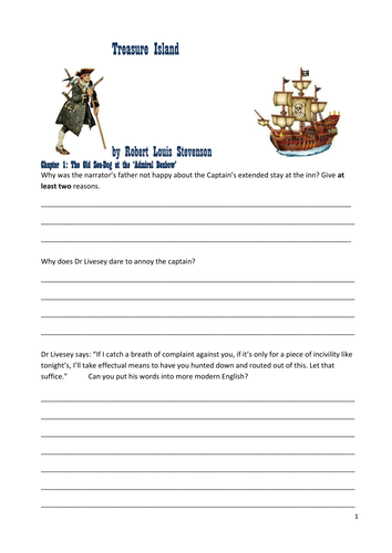 Treasure Island by R. L. Stevenson: Reading / comprehension questions on  all chapters