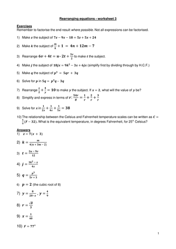 Rearranging Equations Worksheet 3 By Kevald Teaching Resources Tes