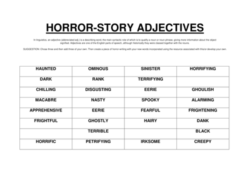 HORROR/GOTHIC ADJECTIVES