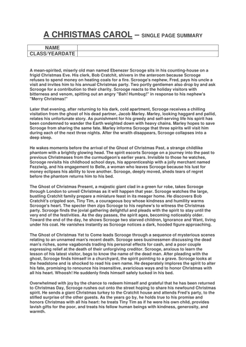 A CHRISTMAS CAROL - SINGLE PAGE SUMMARY AND WRITE YOUR OWN