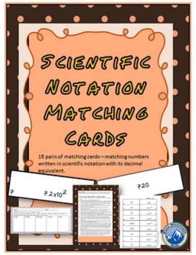Scientific Notation Matching Card Set