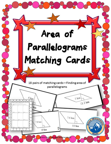 Area of Parallelograms Matching Card Set