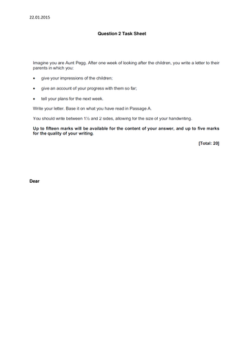 iGCSE Core Paper Letter Writing using formality