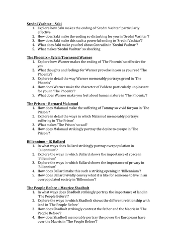 IGCSE Literature Paper 1 Prose Stories of Ourselves