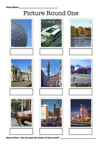 Picture Rounds Quiz - Birmingham Theme