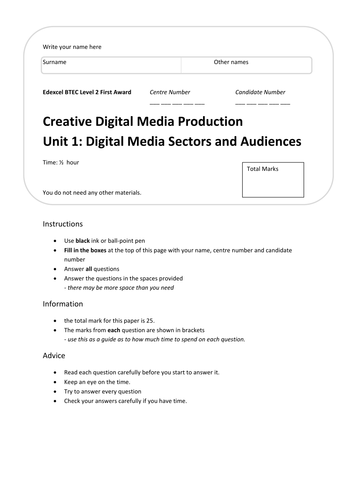 Creative Digital Media BTEC Theory Mock