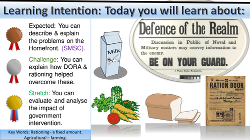 WWI Home-front: Defense of the Realm Act (DORA) & Rationing.