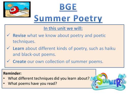 BGE Summer Poetry Creative Writing