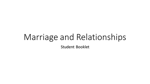 GCSE Religious Studies Short Course B -Marriage and Relationships