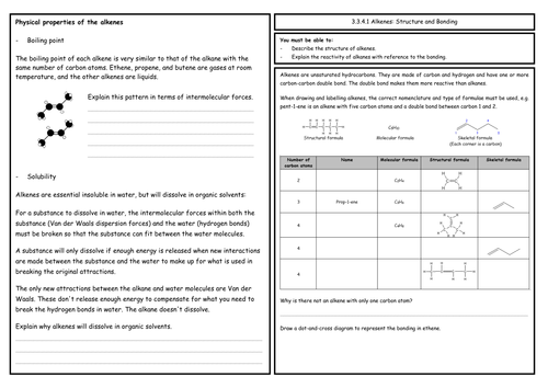 A Level Chemistry: Alkenes