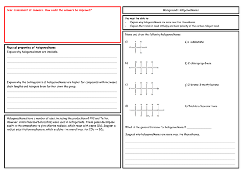 A Level Chemistry: Halogenoalkanes