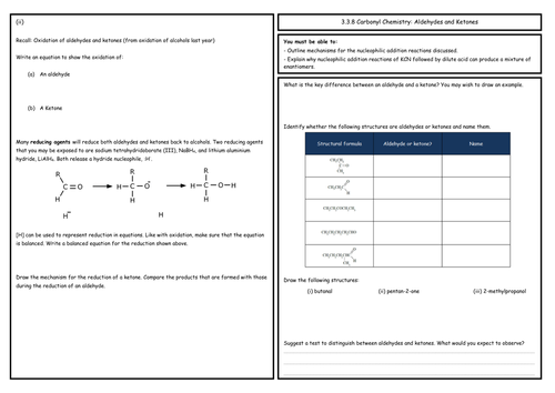 A Level Chemistry: Aldehydes and Ketones