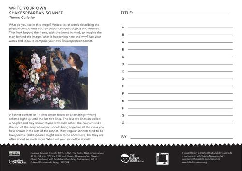 6 Themed 'Write Your Own' Shakespeare Sonnet Worksheets