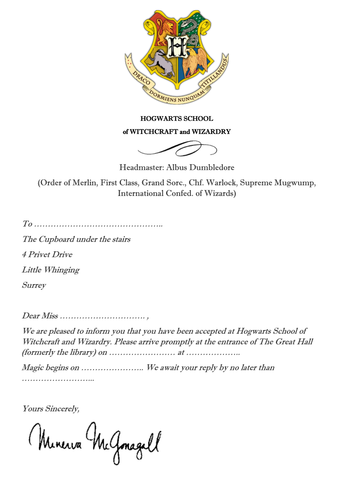 Acceptance to Hogwarts letter - invite to literary school event