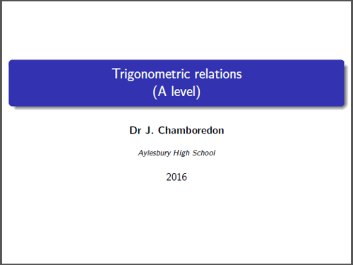 Trigonometric Relations questions (A level maths / C3 and C4)