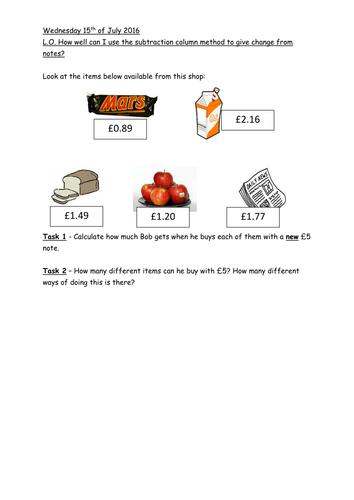 To Give Change KS2 Worksheet
