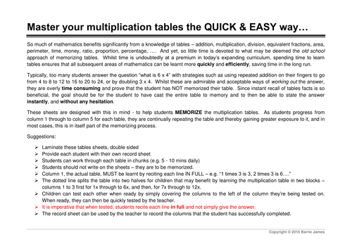 Master Your Multiplication Tables The Quick Easy Way By Bas0410