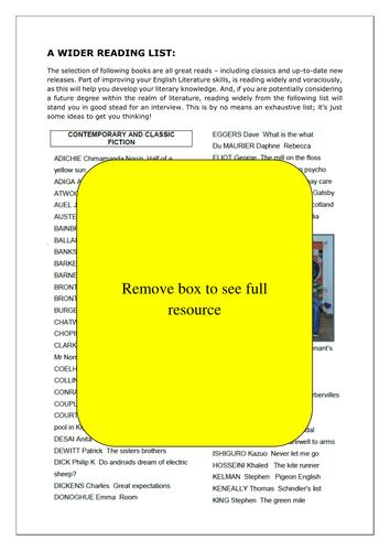 English Literature A-Level: Wider Reading List