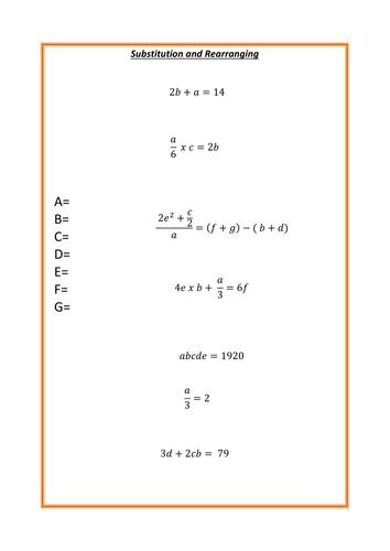 substitution worksheet by mrbartonmaths teaching. Black Bedroom Furniture Sets. Home Design Ideas
