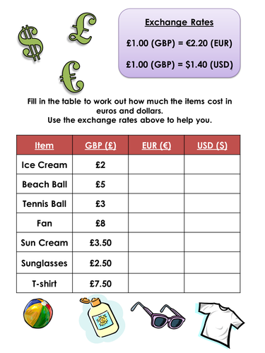 exchange rates for going on holiday worksheet ideal for ks3 by sebbicen teaching resources. Black Bedroom Furniture Sets. Home Design Ideas