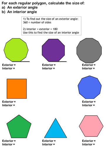 Finding Exterior and Interior Angles for Regular Polygons scaffolded worksheet  Teaching Resources