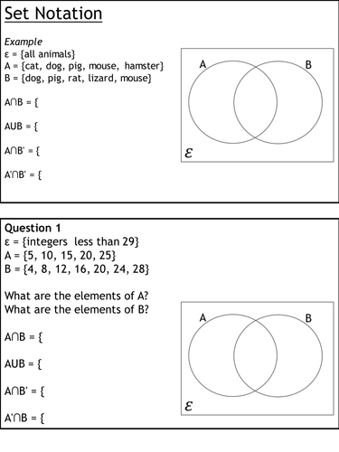 Set Notation And Venn Diagrams New 9 1 Gcse Foundation And