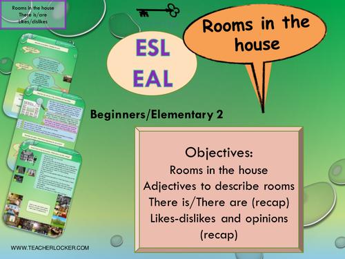 ESL - EAL Where I live - describe your house  Unit 3 lesson 2 (lesson + exercises) (No Prep)