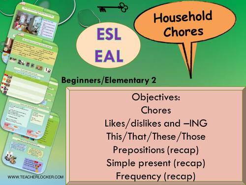 ESL - EAL Where I live - Household chores Unit 3 lesson 4 (lesson + exercises) (No Prep)