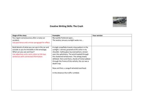 The Crash! Developing Sophisticated Original Writing skills at KS3 and KS4