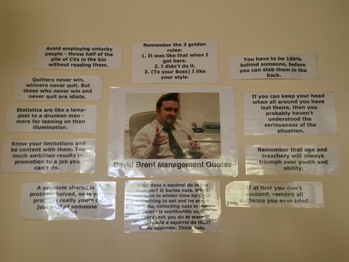 David Brent Management Quotes - Business Display