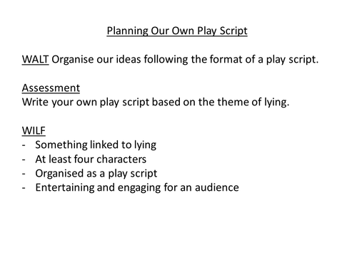 Planning a Play Script