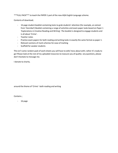 AQA GCSE English Language Paper 1 Explorations in Creative Reading & Writing less able   *FULL PACK*
