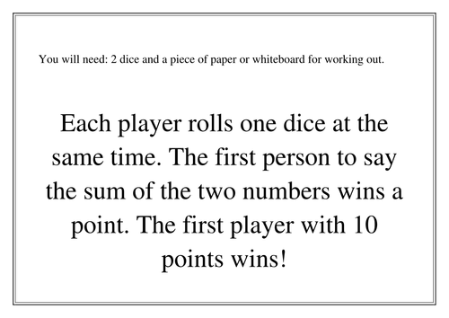 Dice Games- Adding and subtracting