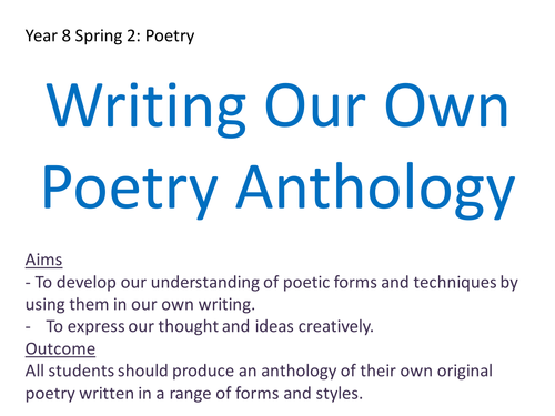 Writing Your Own Poetry Anthology