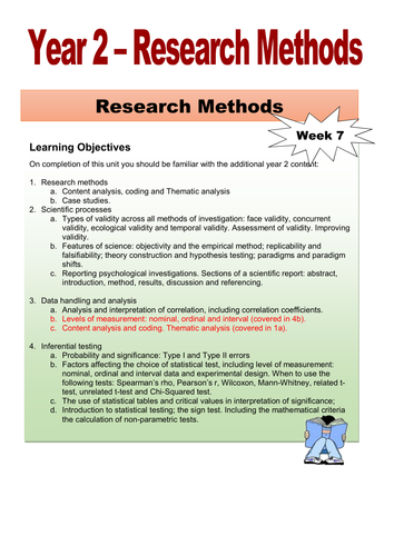 Year 2 Student Workbook - Research Methods the Additional Content