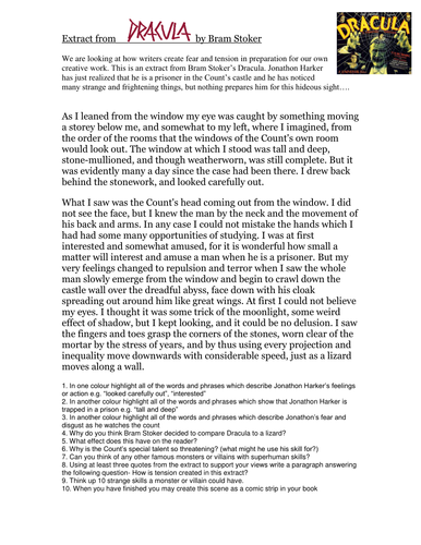 Dracula by Bram Stoker GCSE Descriptive Writing Assignment and activities