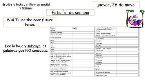 Spanish Y8 Near future activities