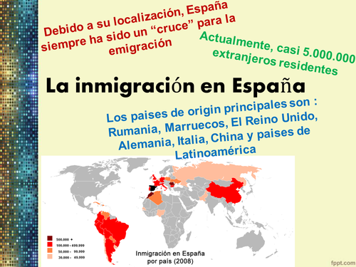 La inmigracion en Espana - Immigration in Spain