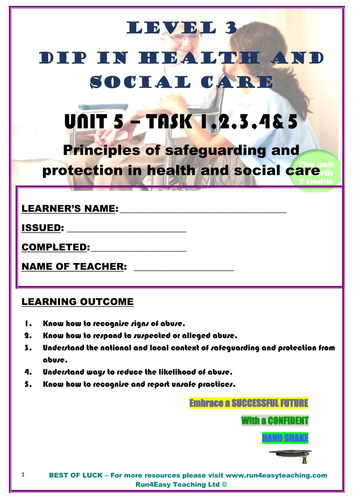 WORKSHEET– PRINCIPLES OF SAFEGUARDING AND PROTECTION IN HSC–TASK 1-5 (L3 DIPLOMA IN HSC)
