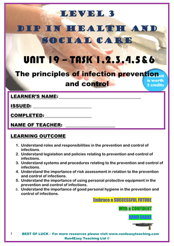 WORKSHEET– THE PRINCIPLES OF INFECTION PREVENTION AND CONTROL –TASK 1-6 (L3 DIPLOMA IN HSC)