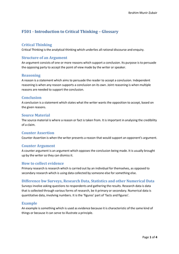 OCR AS Critical Thinking Glossary/Key Terms Revision Sheets