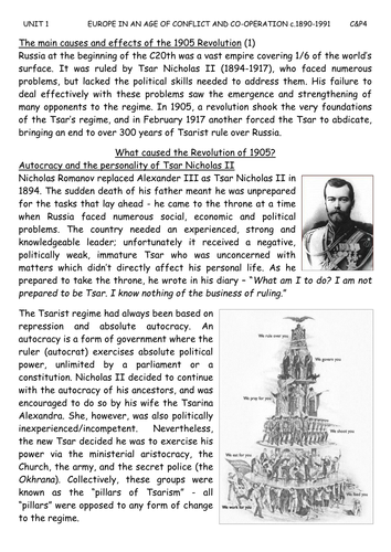 1905 Russian Revolution - A Level pack
