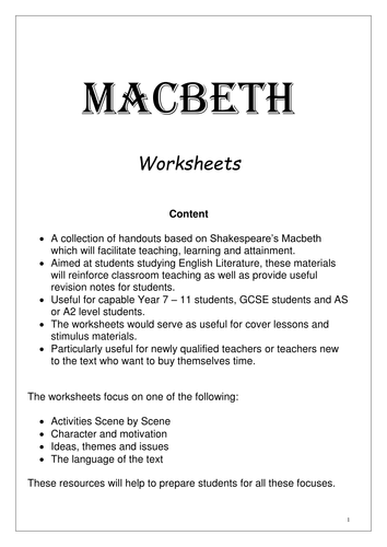 Macbeth - Activities for the whole play including essays by ...