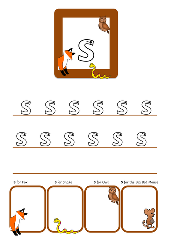 Phase 2 sound writing Gruffalo style  reception HANDWRITING PRACTICE phonics letter formation