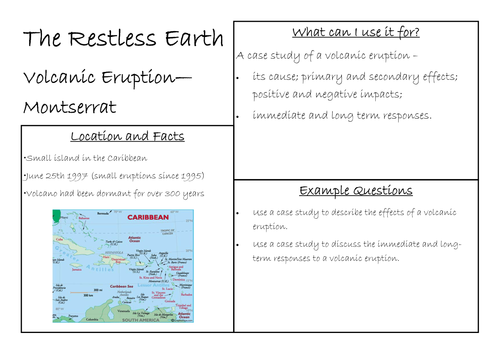 The Restless Earth Case Study Revision Cards