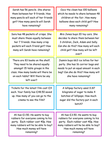 KS2 Maths division with remainders word problems by selinaj ...
