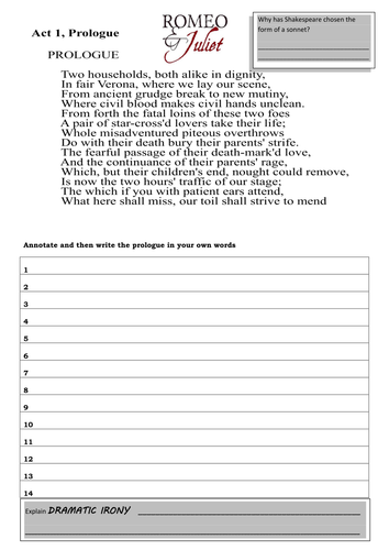 Romeo and Juliet The Prologue Worksheet Activities by lesley1264 ...