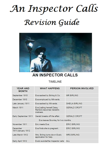 An Inspector Calls by J. B. Priestley FREE Revision and activity booklet KS4 YEAR 10/11