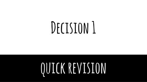 A level applied maths: Decision revison
